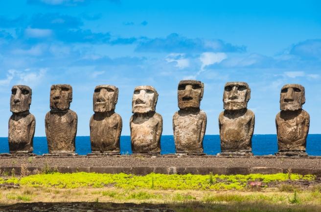 Moais in Ahu Tongariki, Easter island (Chile)