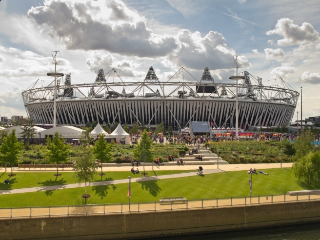 """""""London, England - July, 30th 2012: The Olympic Stadium in the sunshine on day 3 of the London Olympics 2012."""""""