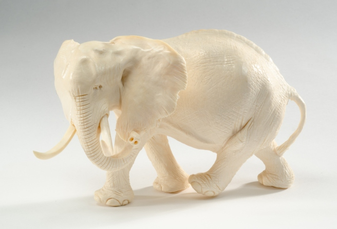 Carved ivory elephant on a white background, circa 1920's.