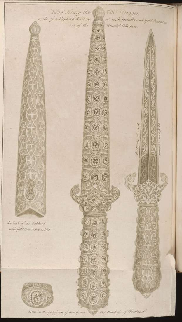 6 - Henry the VIII dagger, engraving by George Vertue