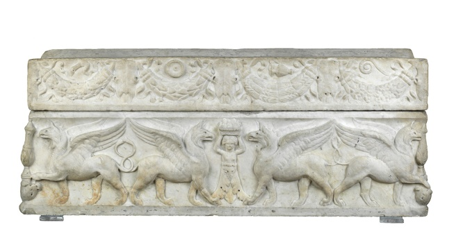 Funerary equipment/Sarcophagus. Child's, with griffins. Luna marble, carved, weight 0.53 tonne, height 0.48 m, width 0.435 m, length 1.18 m. Production Place: Italy. 100-125 AD. Middle Roman Period.